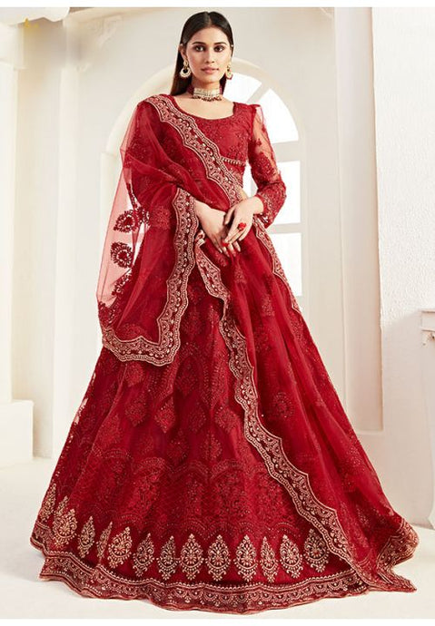 Red Net Reception Evening Lehenga Set Stone Work SF095YDW - Siya Fashions