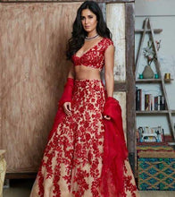 Load image into Gallery viewer, Red Beige Net Cocktail Lehenga Wedding Reception SF0129IN - Siya Fashions