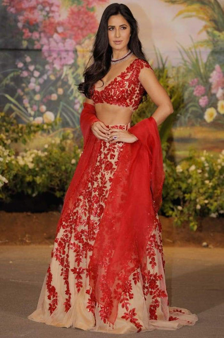 Red Beige Net Cocktail Lehenga Wedding Reception SF0129IN - Siya Fashions