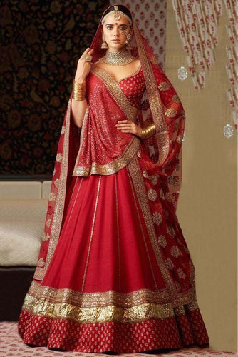 Red Bridal Silk Lehenga Circle Zari Work SFIN3321 - Siya Fashions