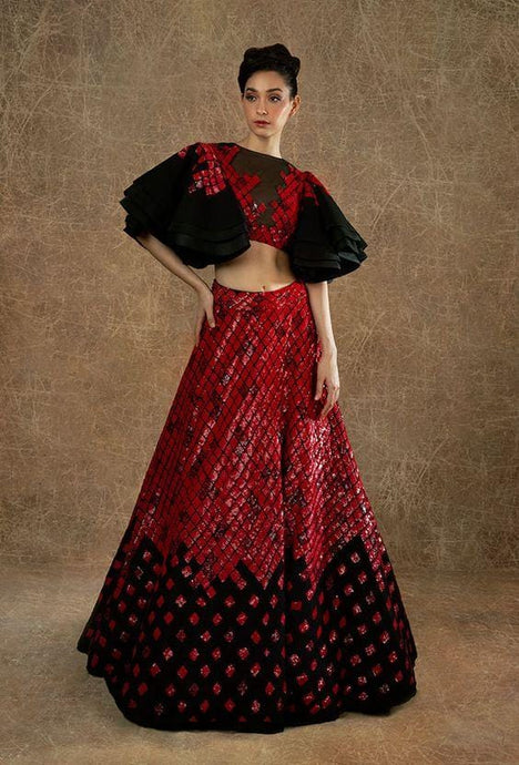 Red Cocktail Reception Prom Lehenga Skirt SF098IN - Siya Fashions