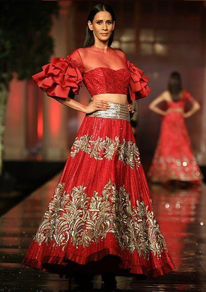Red Cocktail Wedding Prom Lehenga Ruffle Top SF097IN - Siya Fashions