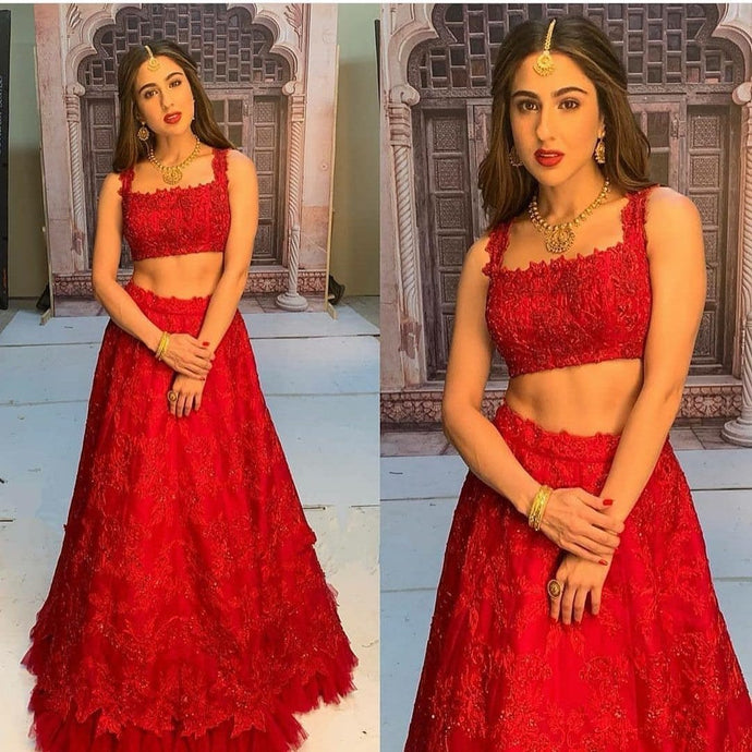 Red Party Lehenga In Net With Zari Embroidery Work SFBOL998