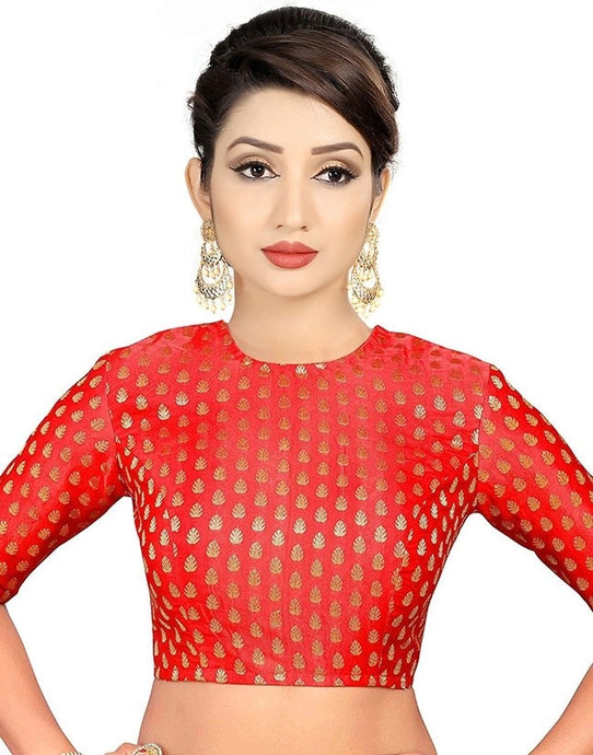 Red Pine Print Crop Style Saree Blouse SIYA127BLS - Siya Fashions