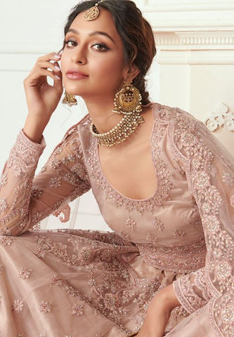 Ritzy Beige Wedding Lehenga Choli Net Badla Work SD061