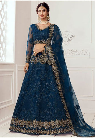 Ritzy Blue Bridal Lehenga Choli Net Stone Work BRIDE069 - Siya Fashions
