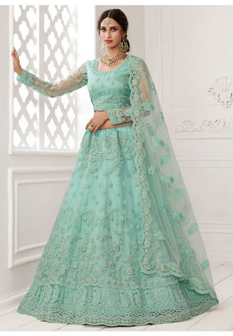 Ritzy Blue Wedding Lehenga Choli Net Badla Work SD062