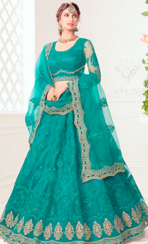 Ritzy Green Bridal Lehenga Choli Net Stone Work BRIDE071 - Siya Fashions