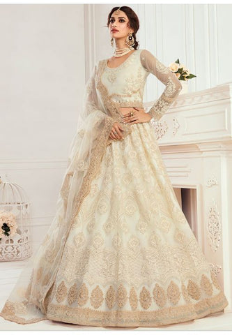 Ritzy Ivory Bridal Reception Lehenga Choli Net Stone Work BRIDE072 - Siya Fashions