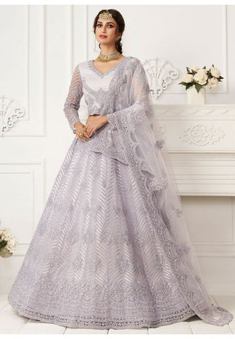 Ritzy Pearl Grey Wedding Lehenga Choli Net Stone Work SD067 - Siya Fashions