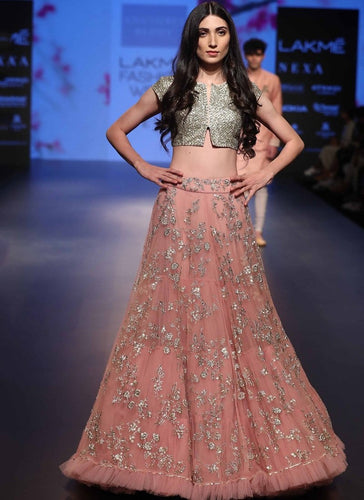 Rose pink Diamond Work Cocktail Lehenga In Crystal SFIN301 - Siya Fashions