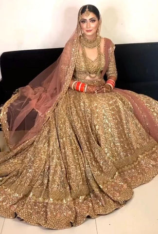 Royal Gold Bridal Dulhan Wedding Haute Couture Silk Lehenga DULHAN322 - Siya Fashions