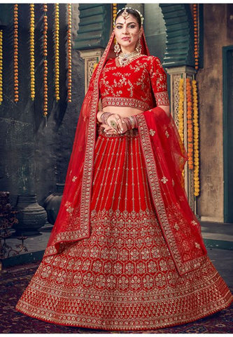 Royal Hot Red Bridal Velvet Lehenga Set Hand Crafted MAYYDS457 - Siya Fashions