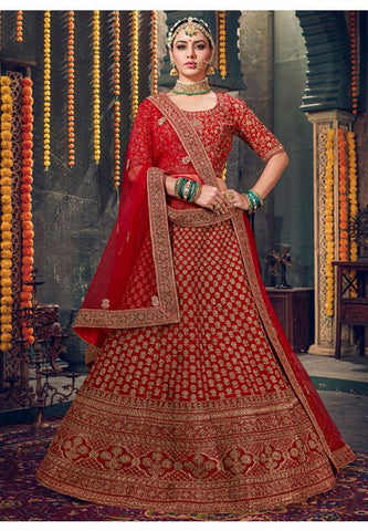 Royal Hot Red Bridal Velvet Lehenga Set Hand Crafted MAYYDS63 - Siya Fashions