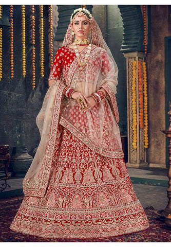 Royal Wedding Red Bridal Velvet Lehenga Set Hand Crafted MAYYDS58 - Siya Fashions