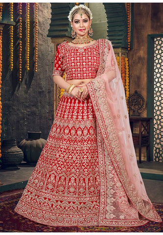 Royal Wedding Red Bridal Velvet Lehenga Set Hand Crafted MAYYDS62 - Siya Fashions