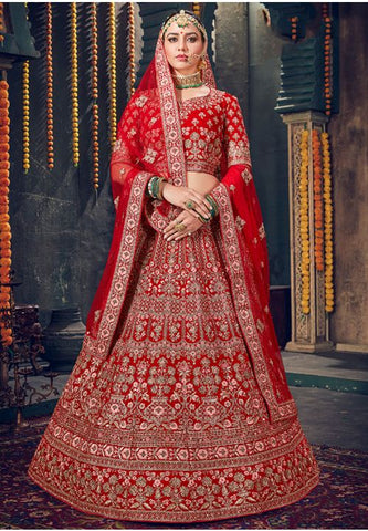 Royal Wedding Red Bridal Velvet Lehenga Set Hand Crafted MAYYDS57 - Siya Fashions