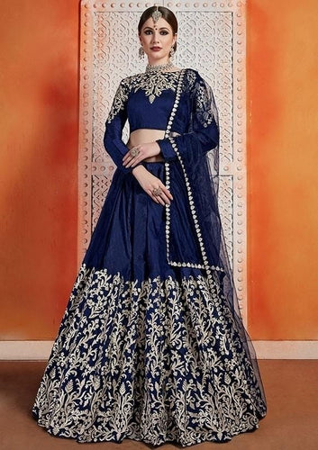 Royal Blue Silk Lehenga Choli Zari Work SF3290YD - Siya Fashions