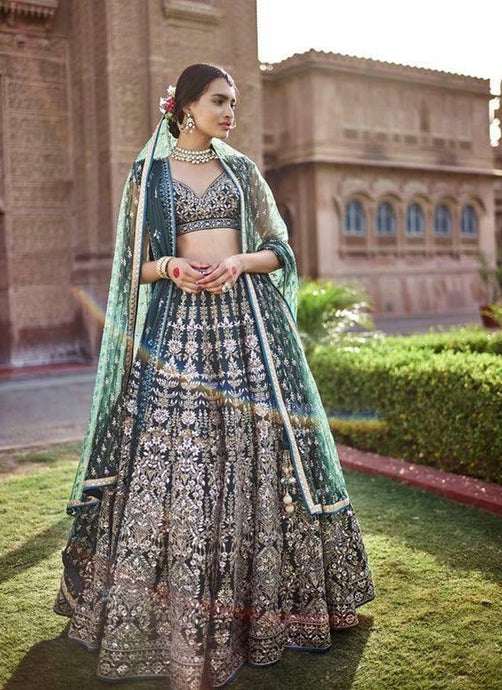 Royal Green Bridal Exclusive Silk Lehenga Choli Zardozi Work SFIN090 - Siya Fashions