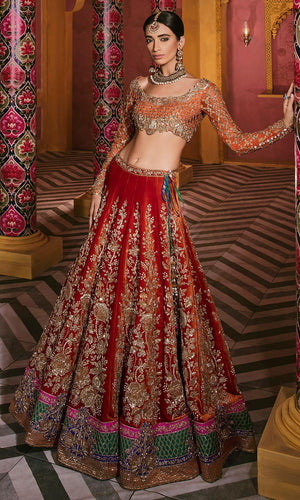 Royal Silk Bridal Orange Lehenga Set SIYA2130INS - Siya Fashions