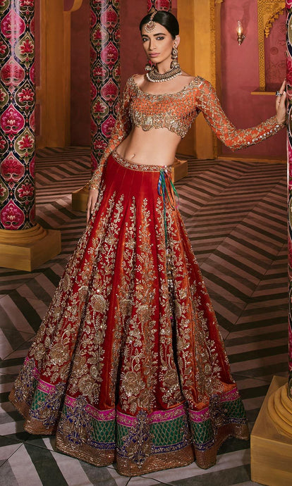 Royal Silk Bridal Orange Lehenga Set SIYA2130INS