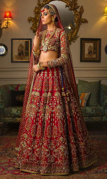 Royal Silk Bridal Red Kasab Lehenga Set SIYA6790INS - Siya Fashions