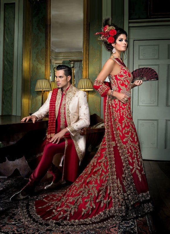 Royal Vintage Maroon Red Satin Bridal Trail Lehenga