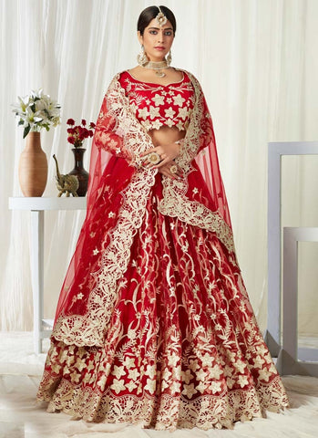 Red Gold Bridal Lehenga Choli In Net Badla Work SIYA0094 - Siya Fashions