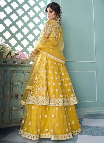 Bollywood Yellow Shamita Shetty Lehenga Kameez Suit FZ43052 - Siya Fashions