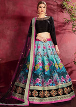 Load image into Gallery viewer, Floral Blue Silk Spring Lehenga SF117YDS - Siya Fashions