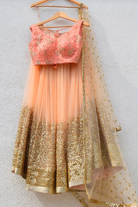 Engagement Peach Gold Lehenga Choli  SF709FAIN - Siya Fashions
