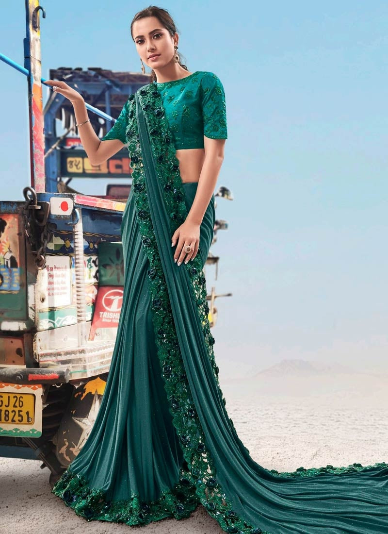 Teal Green Evening Wedding Party Wear Net Satin Saree SSFWED48 - Siya Fashions