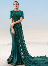 Load image into Gallery viewer, Teal Green Evening Wedding Party Wear Net Satin Saree SSFWED48 - Siya Fashions