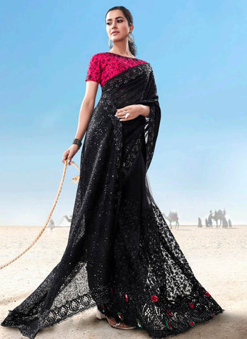 Black Reception Party Wear Net Saree Pink Blouse SSFWED43 - Siya Fashions