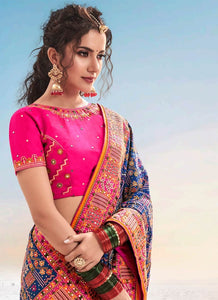 Bridal Banarasi Silk Blue Saree With Pink Blouse SFWEB1310 - Siya Fashions