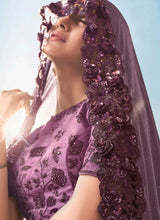 Load image into Gallery viewer, Purple Evening Wedding Party Wear Net Saree SSFWED47 - Siya Fashions