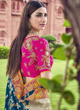 Load image into Gallery viewer, Bridal Banarasi Silk Yellow Teal Saree With Pink Blouse SFWEB1312 - Siya Fashions