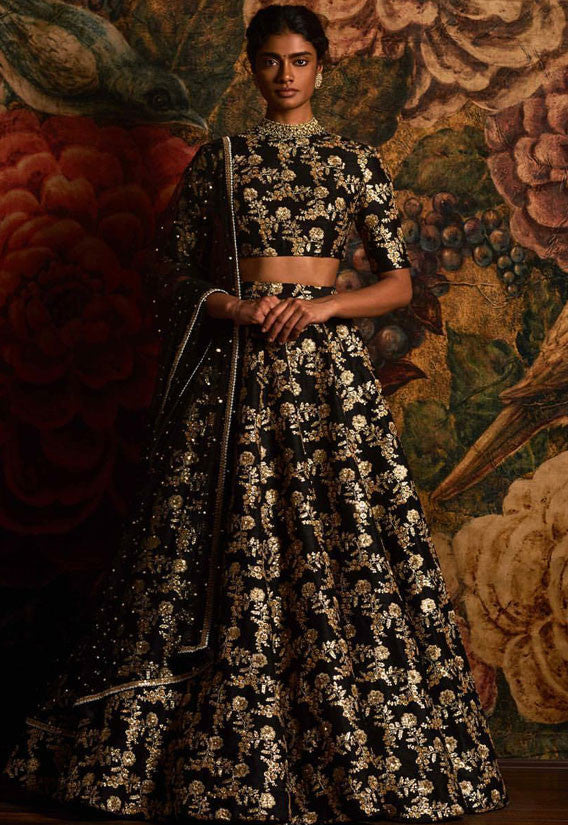 Black Gold Wedding Lehenga Silk SF0812