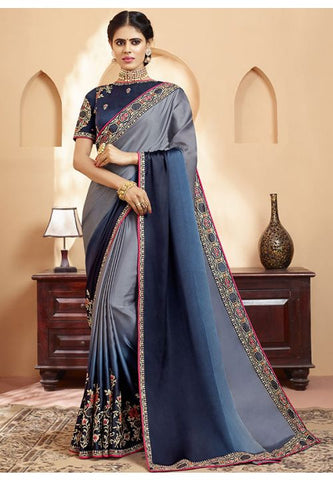 Salte Grey Online Asian Wedding Saree With Blouse SIYA324YDS - Siya Fashions