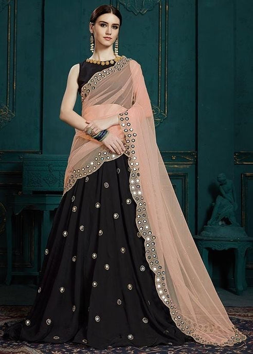 Sangeet Black Lehenga In Georgette Mirror Cutwork SIYA112 - Siya Fashions
