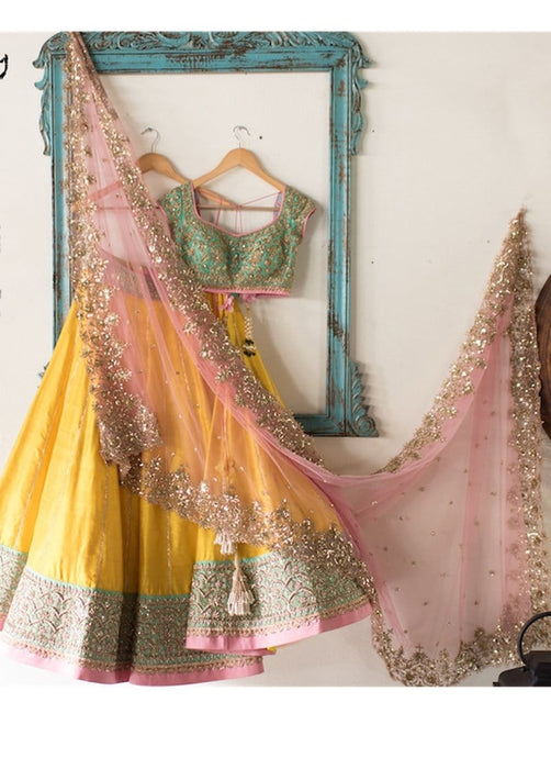 Sangeet Yellow Chanderi Silk Lehenga Choli SFB3211 - Siya Fashions
