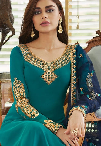 Sapphire Blue Churidar In Georgette Fabric SIYA0301 - Siya Fashions