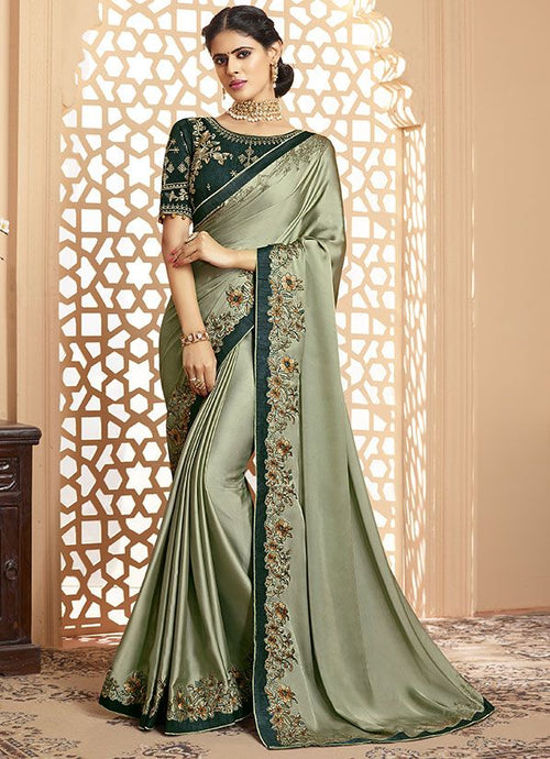 Sardine Grey Online Asian Wedding Saree With Blouse SIYA323YDS - Siya Fashions