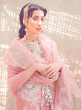 Load image into Gallery viewer, Peach Kinaar by Shiza Hassan Embroidered Poly Net Suit 3 Piece Suit - Aabroo - Siya Fashions