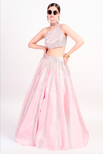 Pink Silk 3 Piece Evening Cocktail  Lehenga SFBIRDAL077 - Siya Fashions
