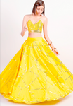 Yellow Silk 3 Piece Evening Cocktail  Lehenga SFBIRDAL078 - Siya Fashions