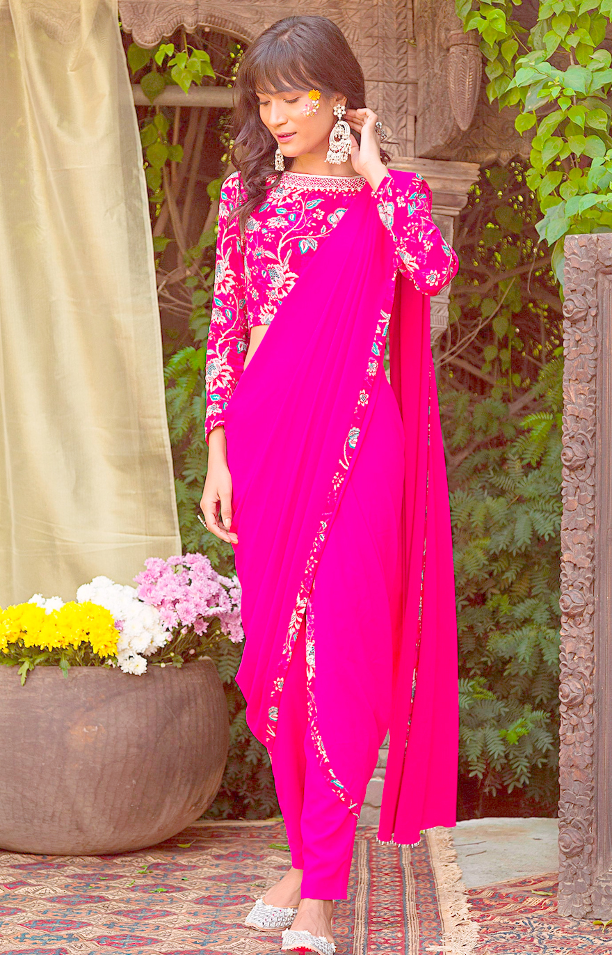 Pink Georgette Fully Stitched Ready Made Saree Embroidery Work  SFBIRDAL078 - Siya Fashions