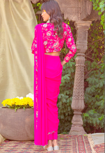 Load image into Gallery viewer, Pink Georgette Fully Stitched Ready Made Saree Embroidery Work  SFBIRDAL078 - Siya Fashions
