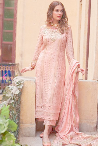 Noor Peach Georgette Sequin Cigratte Style Pants Suit SBL914