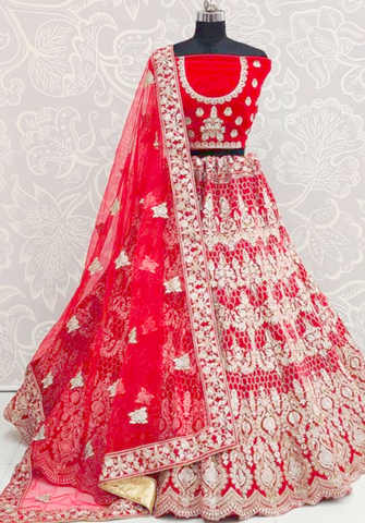 Hot Bright Red Bridal Lehenga Choli Set In Velvet Diamond Work SIYA0935 - Siya Fashions
